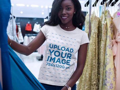 Young Black Girl Shopping While Wearing a Round Neck Tee Template a16064