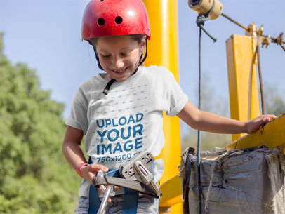 Little White Girl Wearing a T-Shirt Template While About to Use a Zipline a16165