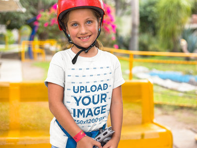 Smiling Kid Getting Ready for the Zipline While Wearing a Round Neck Tee Mockup a16156