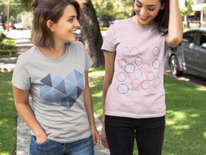 Girls Walking Outdoors While Wearing T-Shirts Mockup a16253