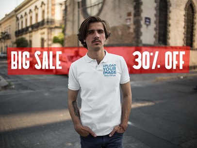 Twitter Ad - White Man Wearing Polo Shirt in the City a15378