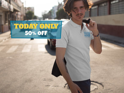 Facebook Ad - Young Man with Moustache Walking Wearing a Polo Shirt Mockup a15367