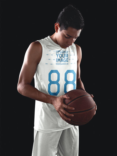 Basketball Jersey Maker - Teen Player Focusing Holding the Ball a16501