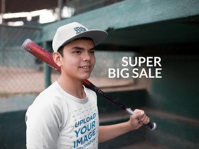 Kid Wearing a Baseball Hat Mockup and Raglan T-Shirt While Holding a Bat a15172