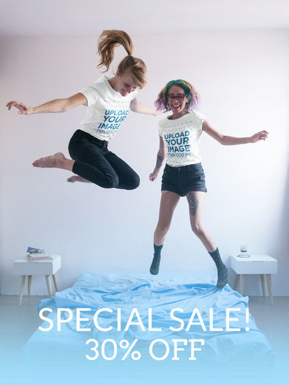 Facebook Ad - Two Girls Jumping on the Bed Wearing T-Shirts Mockup a16412