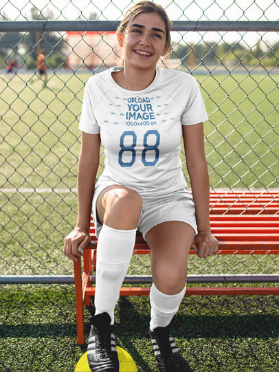 Custom Soccer Jerseys - Pretty Girl Sitting on a Bench a16517