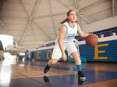 Basketball Jersey Maker - Teen Girl Running with Ball a16510