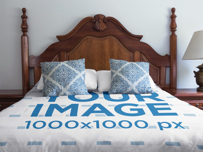 Duvet Cover Mockup on a Vintage Room a16396