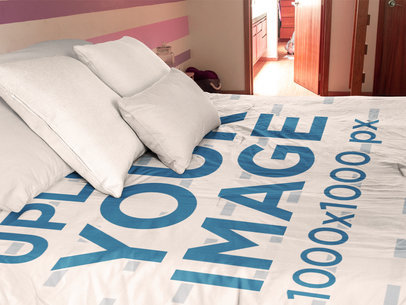 Side Shot of a Duvet Cover Mockup Inside a Girl Room  a16403