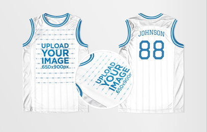 Basketball Jersey Maker - Jersey Front and Back Against Solid Background a16739