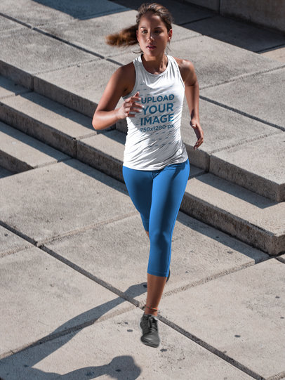 Mockup of a Girl Wearing Custom Sportswear While Running a16789