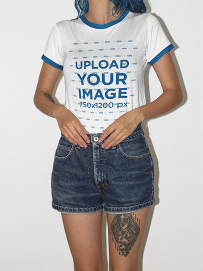 Cropped Face Girl Wearing a Ringer T-Shirt Mockup Against a White Wall  a16990
