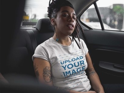 Trendy Girl with Dreadlocks Wearing a T-Shirt Template While Inside a Car a17133
