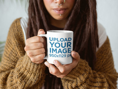 Closeup of a Girl with Dreadlocks Holding a Coffee Cup Mockup Indoors a17300