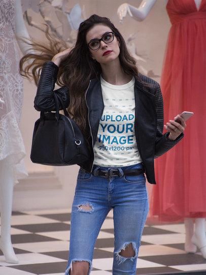Fashion Girl Shopping Wearing a Tshirt Mockup a17360