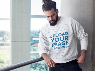 Hipster Man Looking Down While Wearing a Crewneck Sweatshirt Template a17757