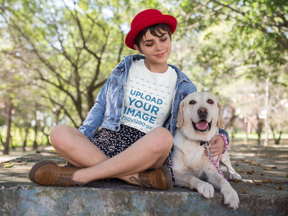 Girl at a Park with her Dog Wearing a Tshirt Mockup a17983