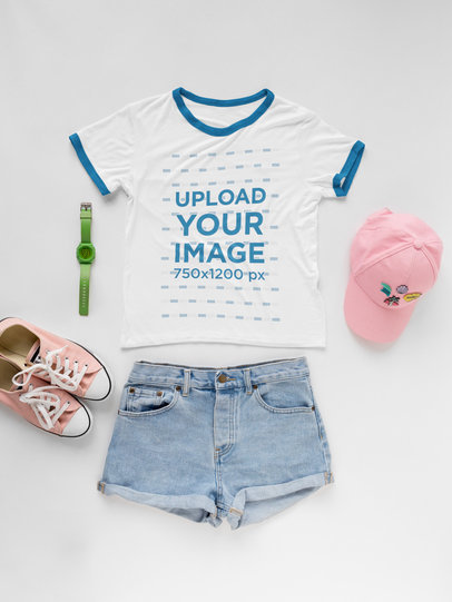 Pink Outfit with Ringer T-Shirt Mockup a17955