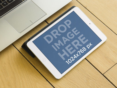 iPad Mini Next to Laptop Mockup Template Generator
