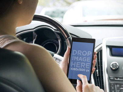 Android Mockup Template of Woman Inside The Car