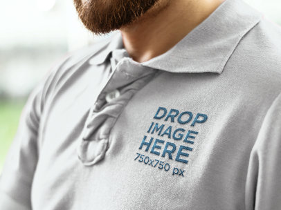 Clothing Mockup of a Bearded Man in a Collar Shirt 7219a