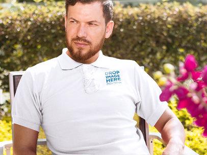 Collar Shirt Mockup of a Man Sitting at a Patio Table a7222