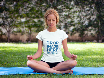 T-Shirt Mockup of a Woman Practicing Yoga at a Park a7800