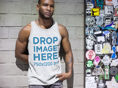 Black Man at a Subway Station Tank Top Mockup a9380