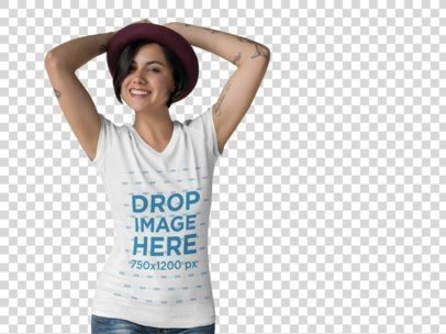 T-Shirt Mockup of a Hipster Woman at a Photo Studio a10141