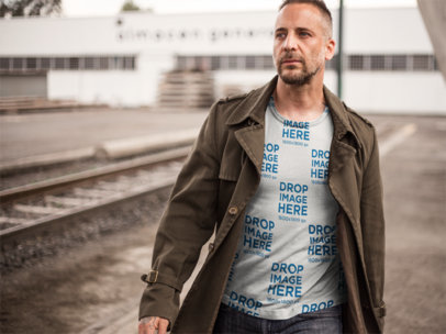 T-Shirt Mockup of a Handsome Man at a Construction Site a9370