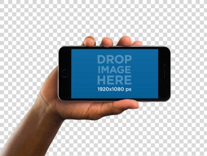 Black iPhone 6 in Landscape Position Over Transparent Background Mockup a11015