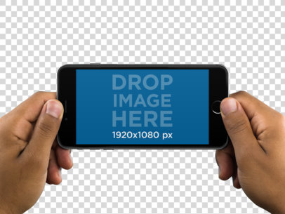 Black iPhone Held in Horizontal Position Over PNG Background a11201