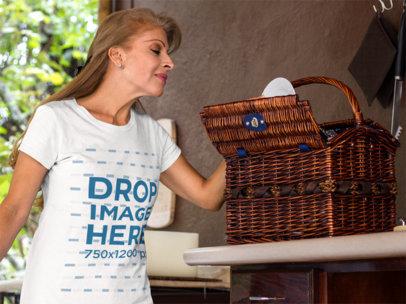 T-Shirt Mockup of a Beautiful Hispanic Middle-Aged Woman a11374