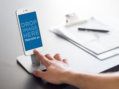 iPhone 6s Mockup Template at a Business Environment a9713