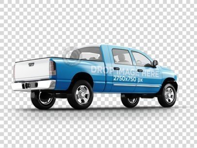 Angled Car Wrap PNG Mockup of a Pickup Truck 11656