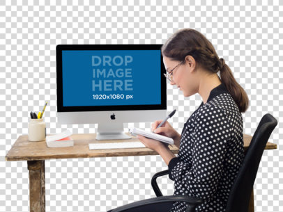 PNG Mockup of an iMac on a Woman's Desk a11693