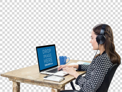 MacBook Pro PNG Mockup of a Woman Listening to Music a11690