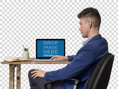 Office Man Working on His MacBook Pro PNG Mockup a11722