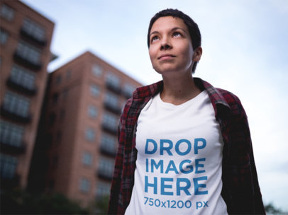 T-Shirt Mockup Featuring an Alternative Woman in the City a12221