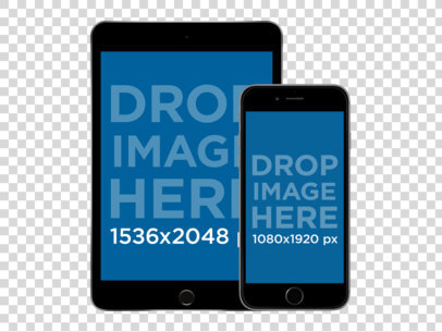 PNG Mockup of a Black iPad Mini and iPhone in Front View Portrait Position a11875