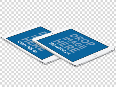 PNG Mockup of Two iPad Minis in Landscape Position Floating  a11886