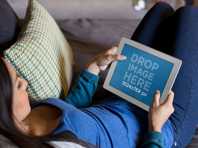 iPad Mockup in Landscape View Featuring a Woman in her Living Room Playing a13098w