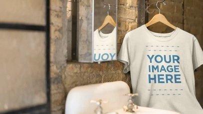 Mockup Video of a T-Shirt in a Hanger Inside a Vintage Bathroom 13138