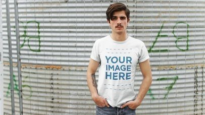 Stop Motion Mockup of a Young Hipster Man Wearing a T-Shirt Moving From Side to Side a13527