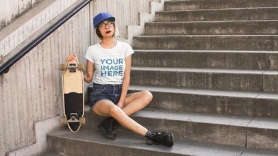 Cinemagraph Mockup of a Trendy Girl Wearing a Round Neck Tee While Her Skate Wheels Moving a13605