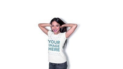 Stop Motion Mockup Of A Hispanic Girl Playing With Her Hair While Wearing A Tshirt Against A White Background a13159