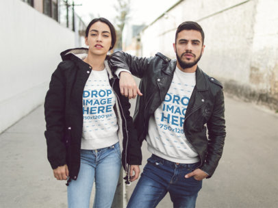Template of a Young Hispanic Couple Wearing Matching Crewneck Sweatshirts While Being Cool in the City a13428