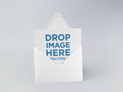 Invitation Card in an Envelope Template Standing on a Solid Surface a15086