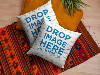 Two Pillows Mockup Lying on a Boho Rug Near a Plant a15179