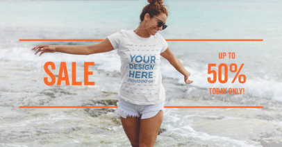 Beautiful Girl On the Beach - Facebook Ad Template for T-Shirt Brands
